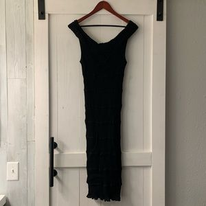 Valentino black stretchy body con dress